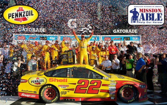 PENNZOIL® TO DONATE $222,222 TO PARALYZED VETERANS WITH JOEY LOGANO WIN AT KOBALT 400